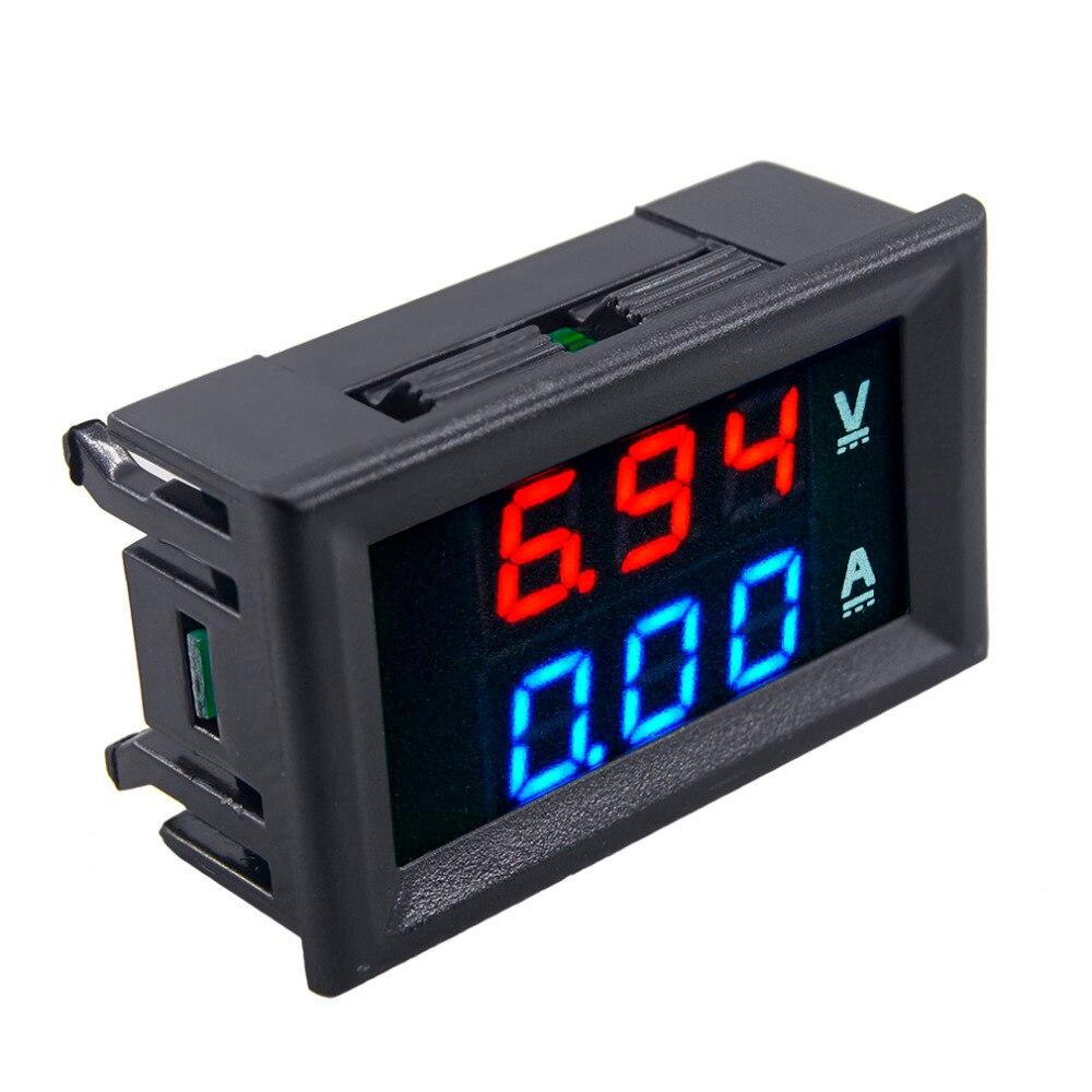Auto DC 100 V 10A Voltmeter Ammeter Blue + Red LED Digital Voltmeter Gauge Amp Dual Voltage Current for Home Car Tool Use Hot