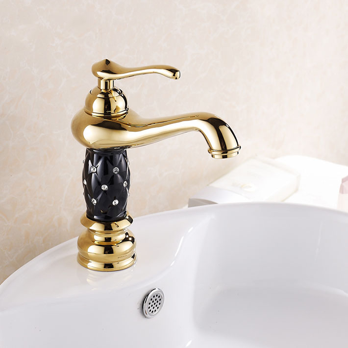 7 Faucet Finishes For Fabulous Bathrooms: Gold Finish With Black Painting Bathroom Sink Faucet