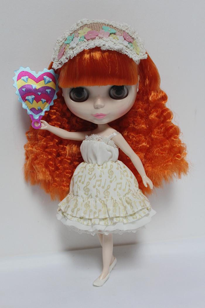 Blygirl Blyth doll Nude doll 30cm ordinary body orange red bangs hair dolls for changing makeup can replace the bodyBlygirl Blyth doll Nude doll 30cm ordinary body orange red bangs hair dolls for changing makeup can replace the body