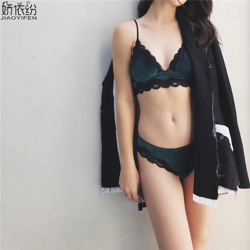 Pháp Nhung Sexy Phụ Nữ Bộ Đồ Lót Ren Áo Ngực Dây Miễn Phí Ultra-mỏng Cái Yếm Convertible Pad Lông Mi Ren Đẩy Lên bộ áo ngực