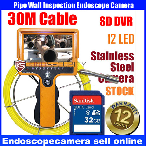 20M-30M drain pipe sewer pipeline inspection video camera with SD card DVR 7 tft sewer pipe inspection snake video camera 600tvl 12 led 30m osd regulation stainless steel lens pipeline drain w2022