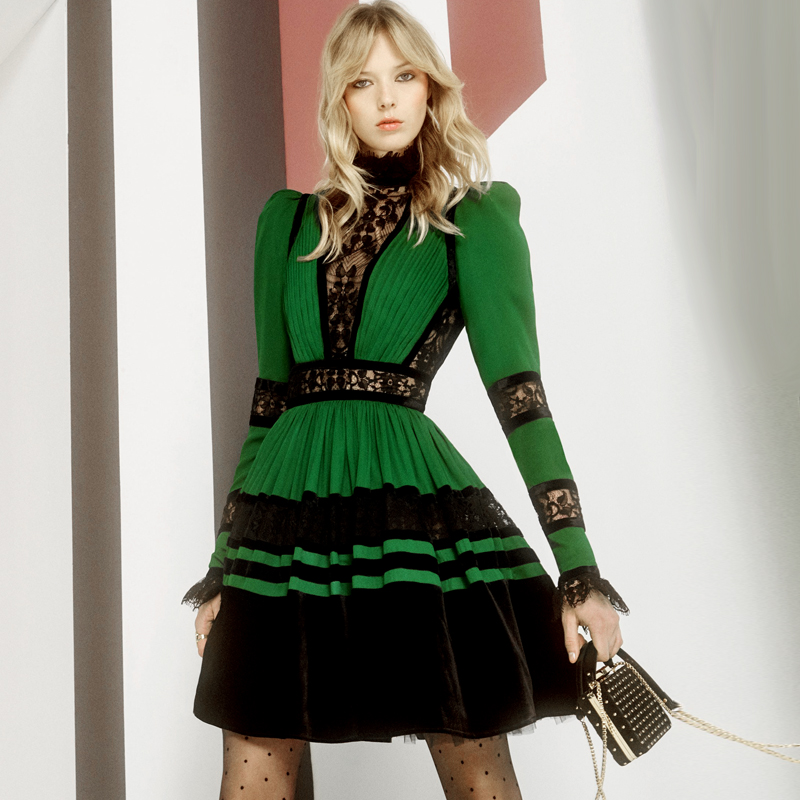Retro lace collar stitching smoke plait bubble long sleeve pocket green dress with big money 2018 autumn outfit