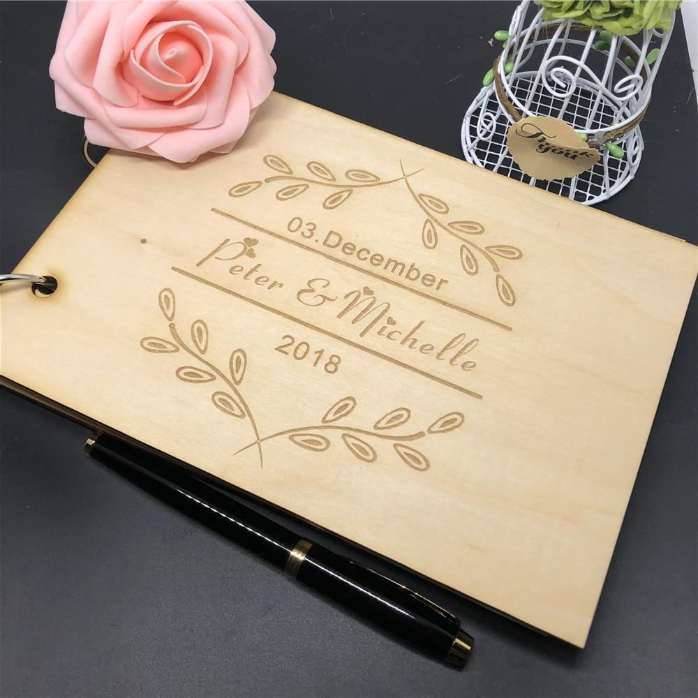Wooden Wedding Album: Custom Wood Guest Book Wedding Photo Album Gift