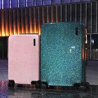 20'' 24'' Glittering Luggage Suitcase Spinner PC Trolley Valise TSA lock Koffer Carry on Travel Kids Luggage valigie