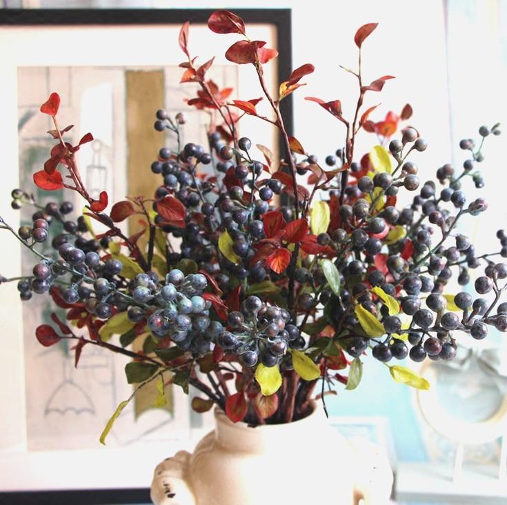 vruća prodaja dekorativni borovnica voće bobica umjetni cvijet - Za blagdane i zabave - Foto 3