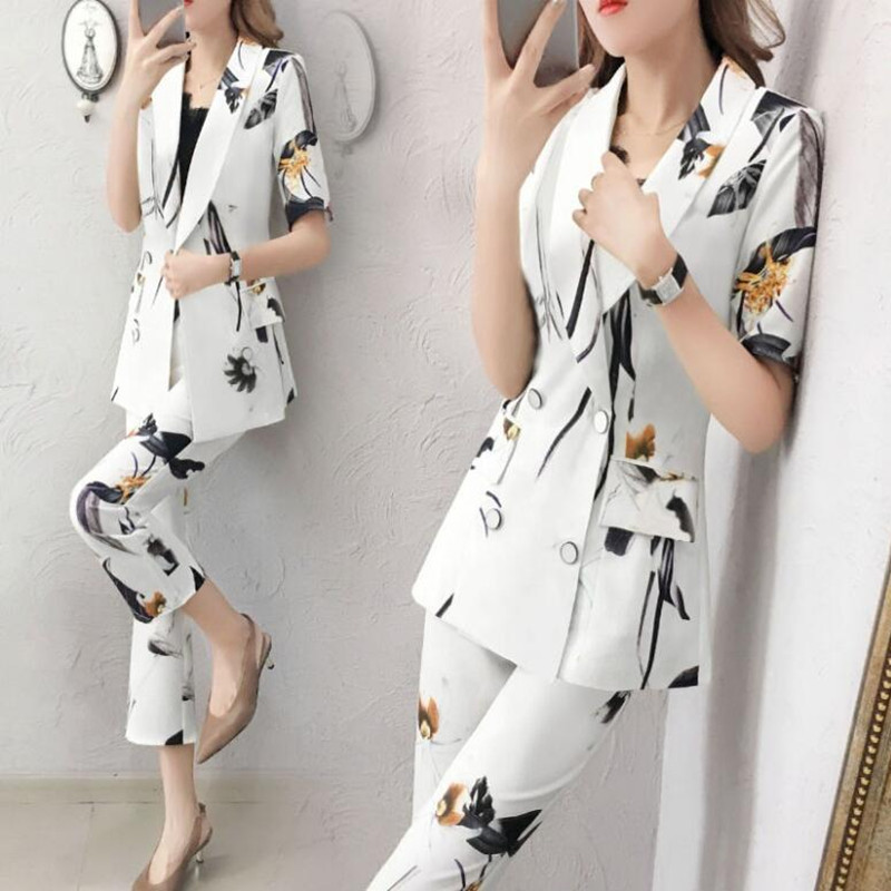69.1 Women blazer set two pieces suit office ladies formal double breasted blazer coat+ ankle pant suit casual loose suit set