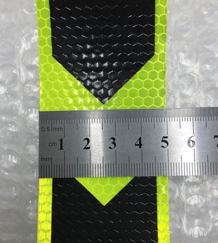 Fluorescent yellow Margin arrow PET Reflective Tape Reflective Safety Warning Tape for car  free shipping vivienne sabo