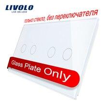 Livolo роскошное 7 цветов жемчужное Хрустальное стекло, 151 мм* 80 мм, стандарт ЕС, двойная стеклянная панель C7-C2/C2-11(4 цвета), логотип/без логотипа