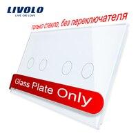 Livolo роскошное белое жемчужное Хрустальное стекло, 151 мм * 80 мм, стандарт ЕС, двойная стеклянная панель VL-C7-C2/C2-11 (4 цвета)