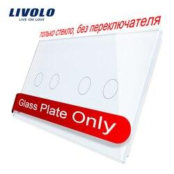 Livolo luxo 7 cores de cristal pérola vidro, 151mm * 80mm, padrão da ue, painel de vidro duplo C7-C2/C2-11 (4 cores), logotipo/nenhum logotipo