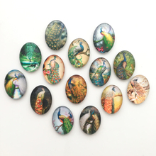 Free shipping (14pcs/lot)Cute Animal Crystal Glass Fridge Magnet Colorful Peacock Message Stickers Home/Kitchen Decor Party Gift