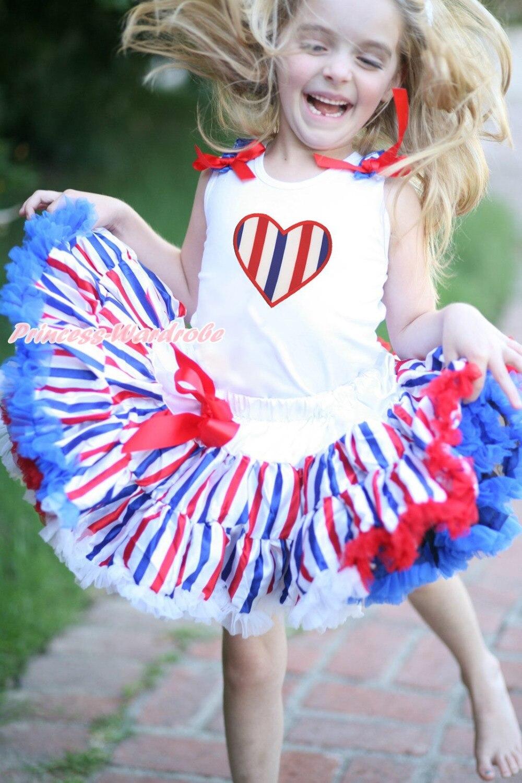 4th July Patriotic RWB Stripe Heart Skirt White Top Shirt Girl Clothing Set 1-8Y MAPSA0624 4th july america flag style stripe pettiskirt white ruffle tank top 2pc set 1 8year mamg1143