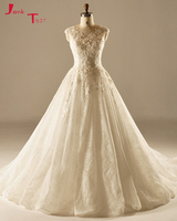 Jark Tozr Vestidos De Noiva Off The Shoulder Appliques Flowers Bridal Gowns Ivory Gorgeous A Line