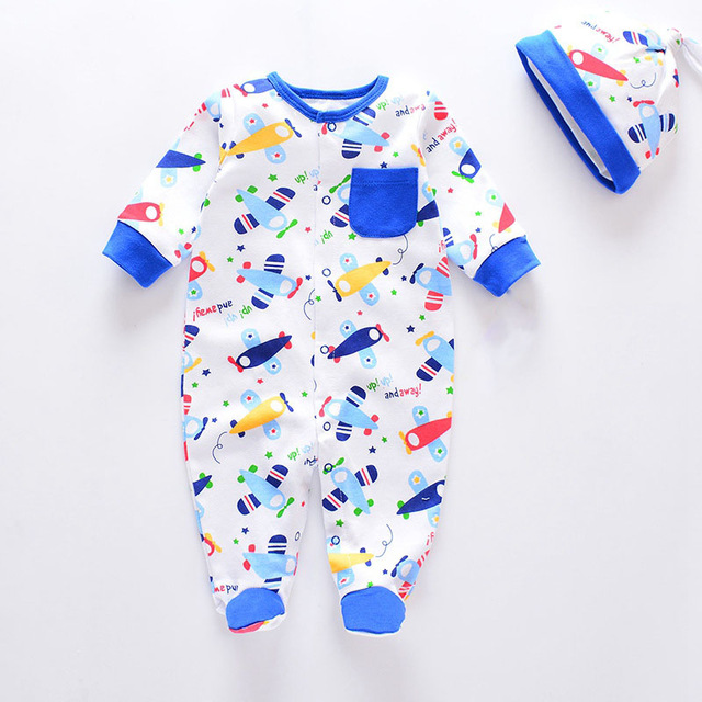 Fashion 2020 Infants Baby Boys Girls Rompers with baby caps Baby pajamas 100% Cotton Baby Clothes Sets