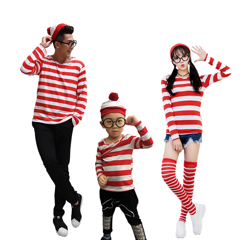 Cartoon Where is Wally Waldo Cosplay Costume Halloween Carnival Fancy Red Stripe Shirt With Hat And Glasses Stag Night Outfit