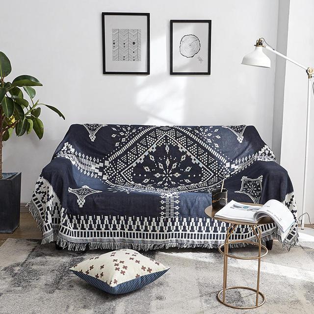 Black White Lattice Diamond Sofa Towel Decorative Slipcover Throw ...