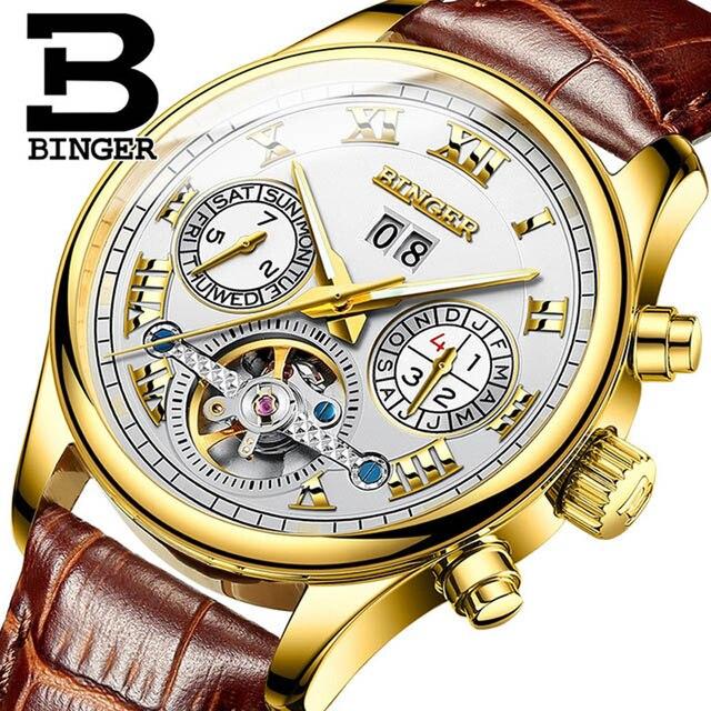 ba812de70dc Suíça Homens Relógio BINGER Safira Mecânico Automático Mens Relógios Top  Marca de Luxo Homens Relógio de
