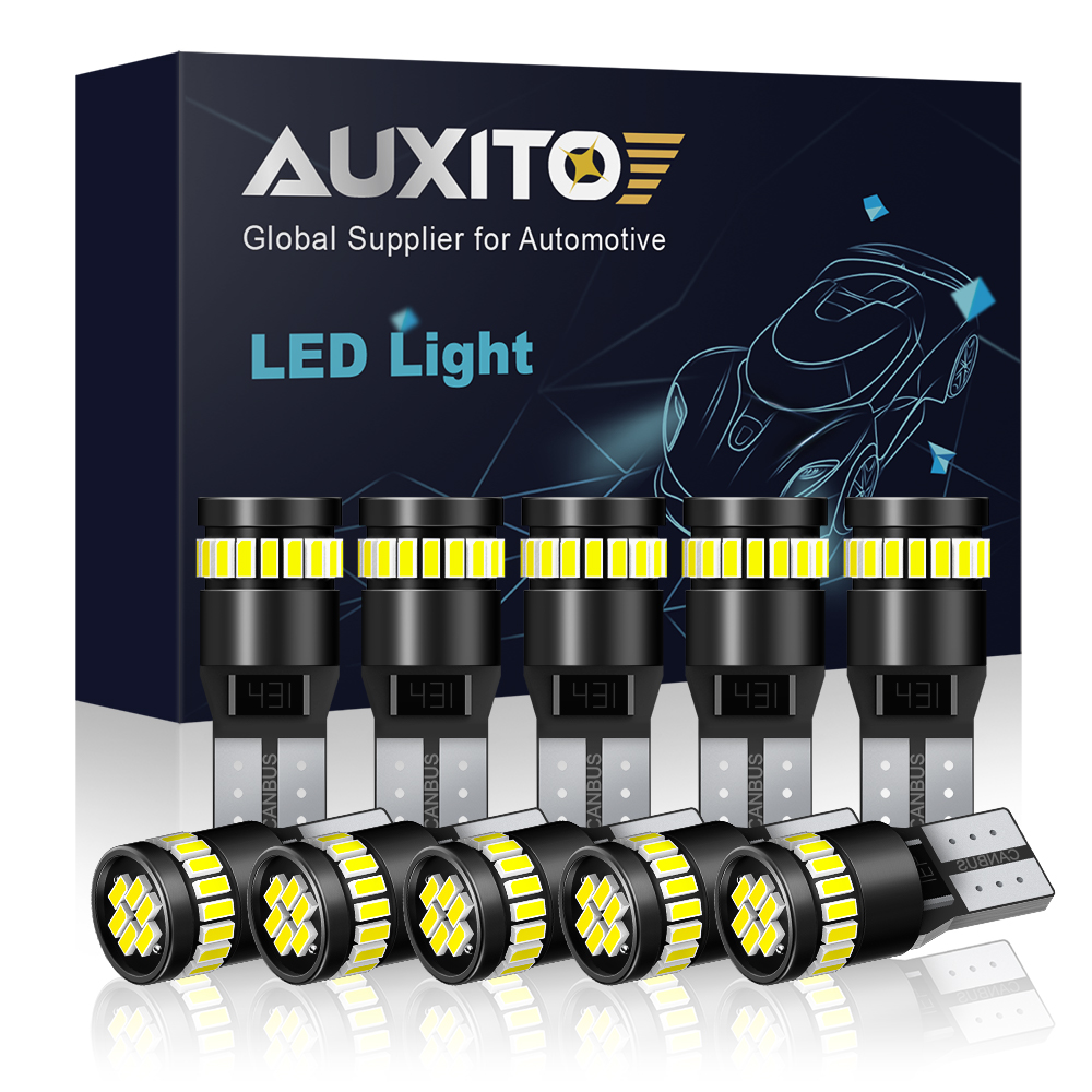10x AUXITO T10 501 W5W LED CANBUS INTERIOR NUMBER PLATE DOME LIGHT BULBS 6000K