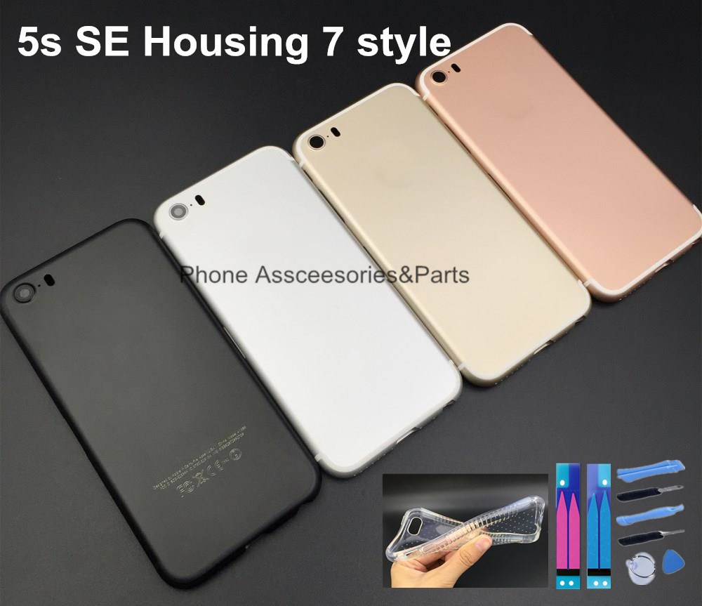 For Iphone 5 5s Housing 7 Style Jet Black Gold Metal Frame Back Cover Battery Door SE Mini Silver On Aliexpress