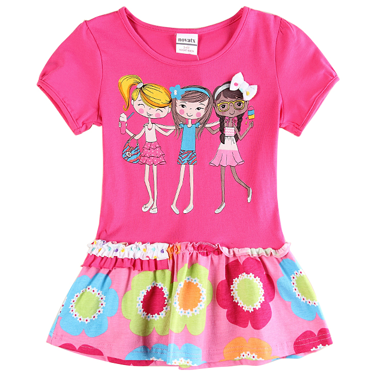 Nova brand girls fuchsia dress 2016 stylish design children clothes charater print Dresses for 2 6y