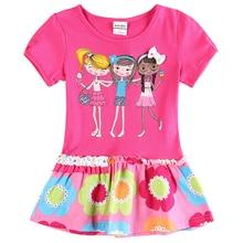 Nova marque filles fuchsia robe 2016 élégant design enfants vêtements charater impression Robes pour 2-6y bébé filles vêtements novatx
