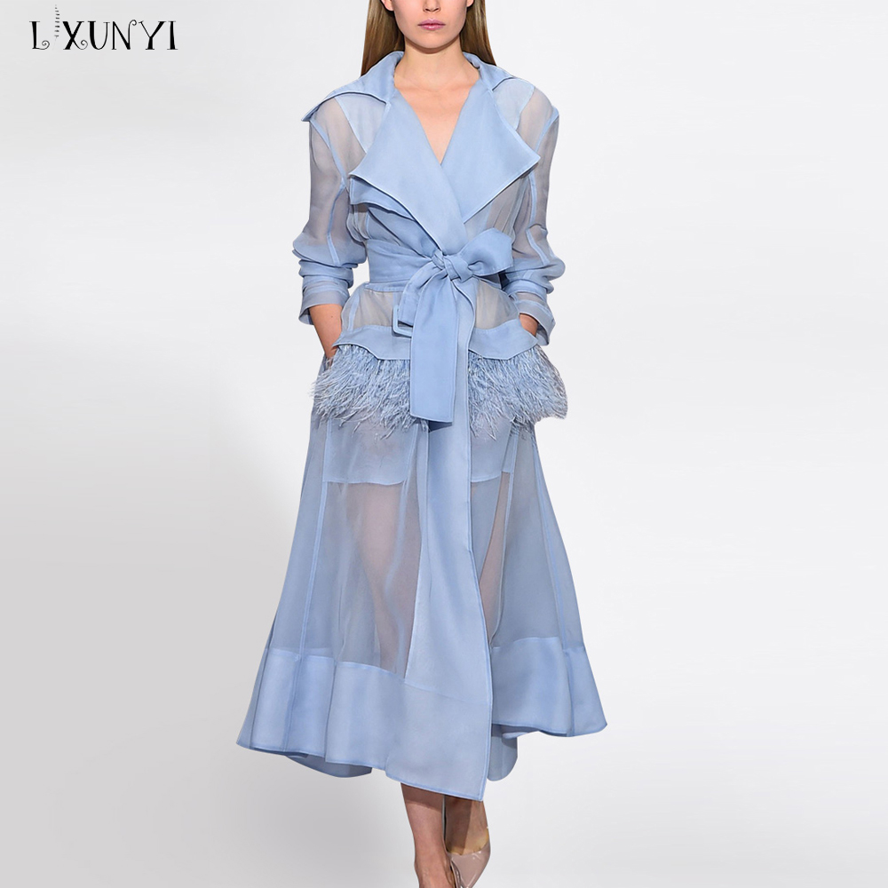 LXUNYI New Real Ostrich Feather Transparent   Trench   Coat Women Sashes Overcoat Gift Cami Dress Spaghetti Straps Slim Windbreaker