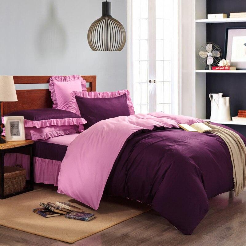 Solid Color Purple Pink Blue Brown Green Orange 4pcs Bedding Set Pure Cotton Ruffle Bedspread Bed Skirt 150cm 180cm Bed Set