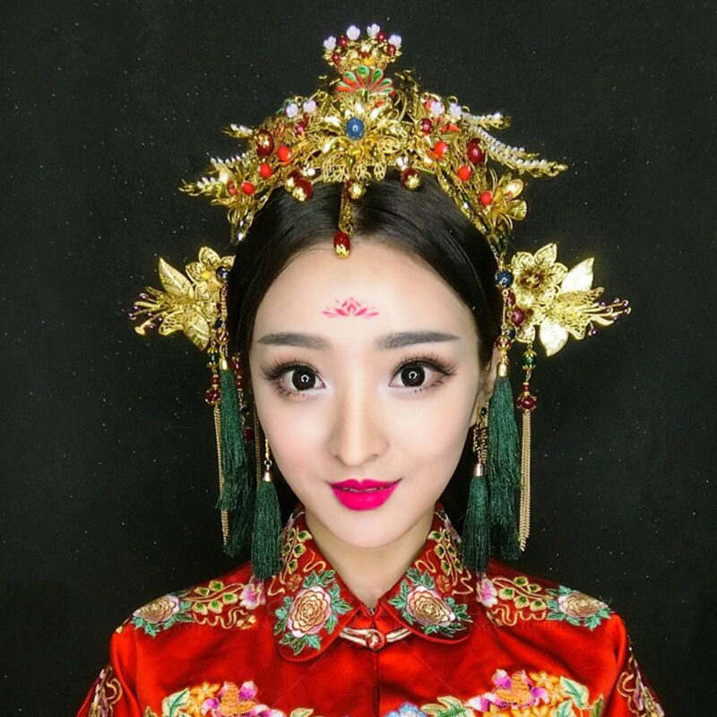 Chinese Traditional Bridal Headdress Long Red/GreenTassels Beads Flowers Hair Jewelry 1