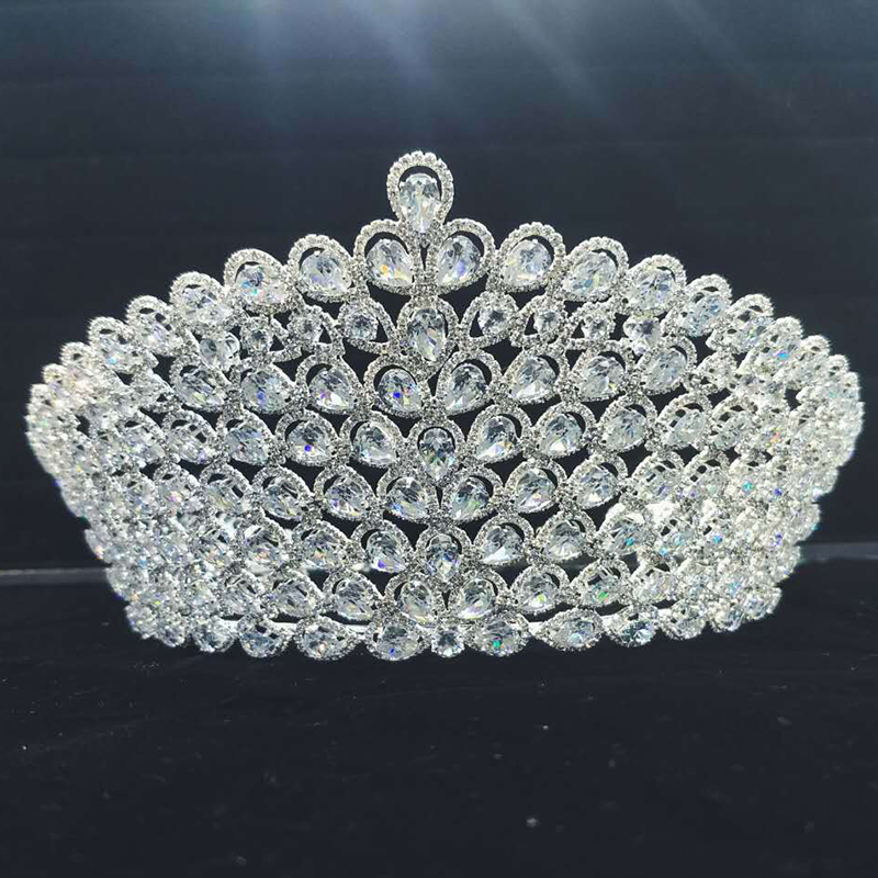 Bridal Wedding Tiaras and Crowns Sliver Hair Crown Cubic Zirconia Large Crown for Women Hair Jewelry Accessories Wholesale зимняя шина sailun ice blazer wst1 235 70 r16 106t п ш