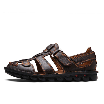 2019 Comfortable Handmade Men Sandals Genuine Leather Soft Summer Men's Shoes Retro Sewing Casual Beach Shoes Big Size 38-48 1