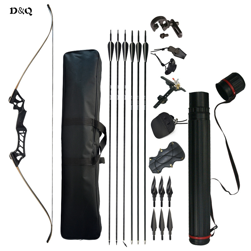 30-60lbs Recurve Take Down Bow Set with Complete Accessories for Archery Hunting Shooting Practice Slingshot Black Camouflage
