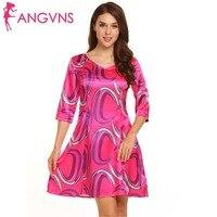 ANGVNS Women Autumn Floral Dress V Neck 3 4 Sleeve Dot Floral Print Satin Slim Fit