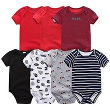 Bodysuit Bebê Unisex 7 Pçs/lote Corpo Macacão de Algodão Roupas de Verão Crianças Roupas de Menina Roupa de bebes infantil pijama natal