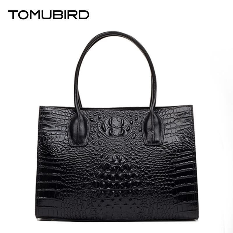 TOMUBIRD new Superior cowhide leather Classic Ladies Embossed Crocodile Genuine Leather Tote Handle Shoulder Handbags tomubird new superior cowhide leather classic designer embossed crocodile leather tote top handle handbags genuine leather bag
