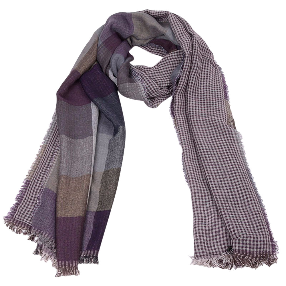 Men Square Pattern Scarf Shawl Winter Warm Long Striped Tassel Wrap USA Seller!
