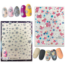Newest WG-01 03 snowflake flower pattern 3d nail manicure back glue decal decorations for sticker