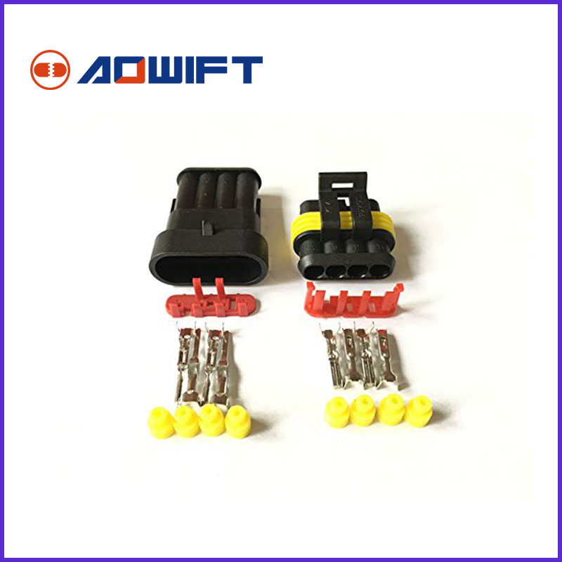 5 pcs Tyco Amp 4 Pin Female Male 282106-1 282088-1 Automotive Connector Electric Connectors And Sealed Waterproof Auto Plug