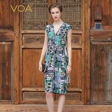 VOA 2017 Summer Sexy V-neck Slim Women Pencil Dress Short Sleeve Mid Waist Plus Size Heavy Silk Office Ladies Dress ASX00302