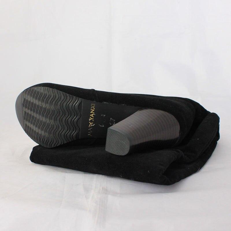 Suuri koko 34-43 naisten saappaat muoti Yli-polvi-kantapää pitkät - Naisten kengät - Valokuva 6