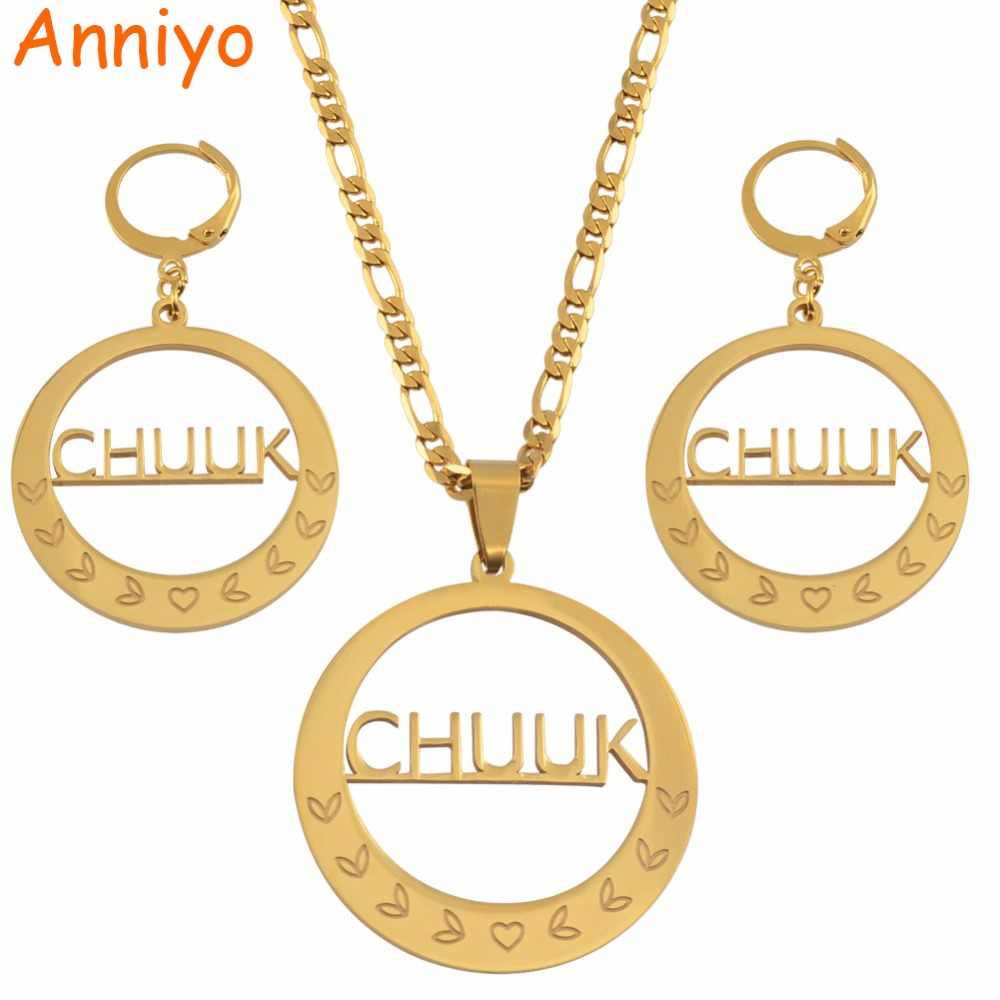 Anniyo CHUUK Big Pendant Necklaces Earrings sets for Women Gold Color Jewelry Wedding Party Gifts  #048121S