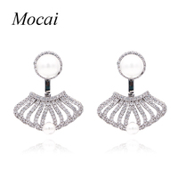 Luxury Hollow Sector Double Sided Simulated Pearl Earrings Brand Design Cubic Zirconia Shell Shape Party Jewelry
