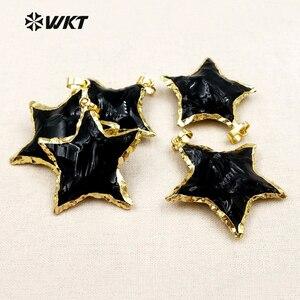 Image 2 - WT P1323 Nova Chegada Linda Estrela Preto Obsidian Pingentes Fazer Jóias para As Mulheres Colares de Metal Galvanizado