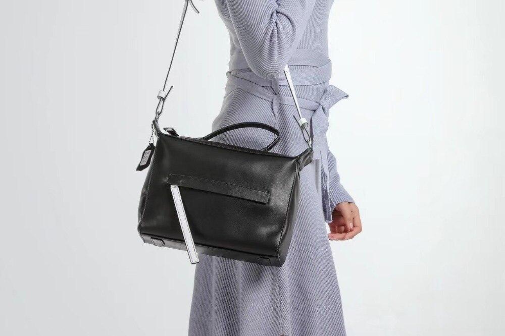 Kafunila 2018 new arrival women wide strap genuine leather messenger handbag famous brand designer high quality crossbody bag