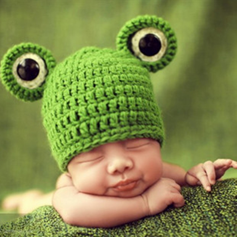 Free shipping Neonatal frog modelling is none of the infants eaves beanie hat autumn 2017 new photography interior cap