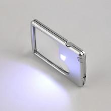 3X 6X lupa karta kredytowa oko lupa szkło powiększające kwadratowy mikroskop z LED Light skórzany pokrowiec na jubiler szkło do czytania tanie tanio Inpelanyu Handheld P1469 Z tworzywa sztucznego 88*57*9mm Magnifier Glass