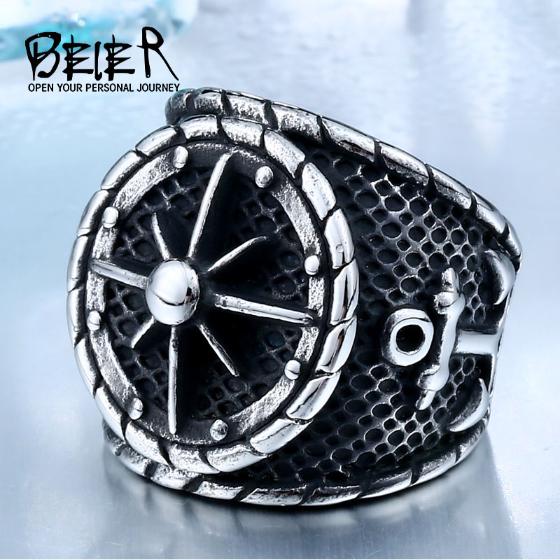 BEIER Cool Big Movie Ring տղամարդու համար Titanium Steel Rock Punk Unique Biker Fashion Punk Jewelry Drop Առաքում BR8-341