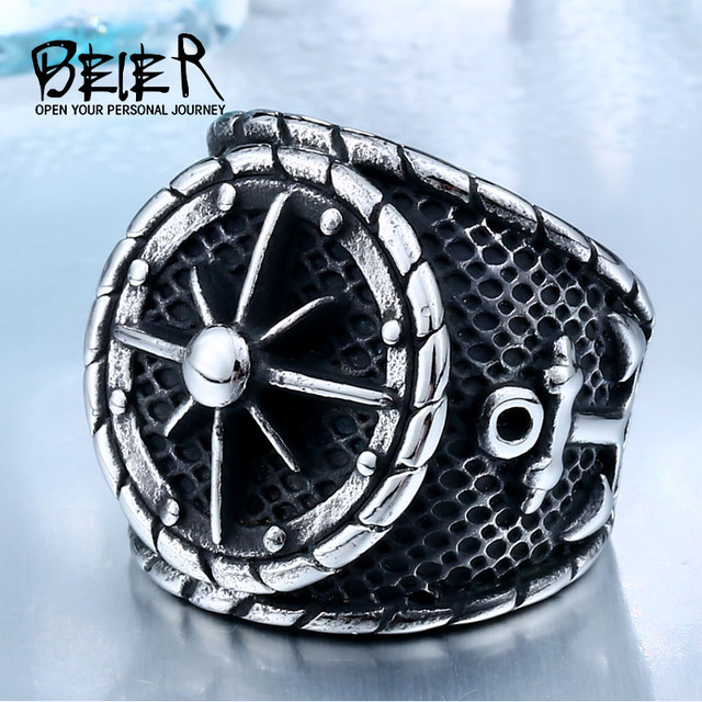 BEIER Cool Big Movie Ring For Man Titanium Steel Rock Punk Unique Biker Fashion