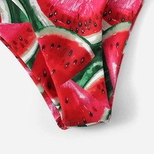 Red Bandeau Bikini Set Swimwear Women High Leg Bikinis 2019 Mujer Swimsuit Watermelon print Biquini Swimming suit for Women