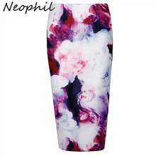 Neophil Retro 3D Oil Painting Rose Flower Floral Print High Waist  Elastic Hip Pencil Skirts Midi Plus Size 3XL Bodycon S08009