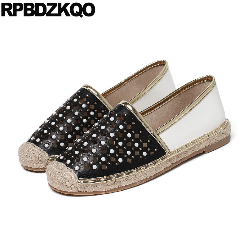 Brand Breathable Designer Shoes Women Luxury 2018 Espadrilles Black And White Crystal Flats Pearl Hollow Out Hemp Rope Summer free shipping candy color women garden shoes breathable women beach shoes hsa21